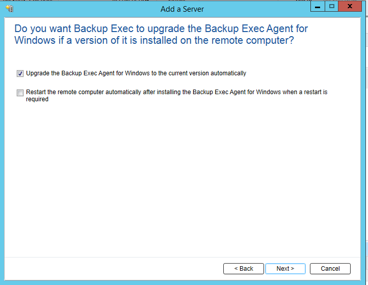 How to install Remote Agent for Windows Servers in Backup Exec 20.5 441