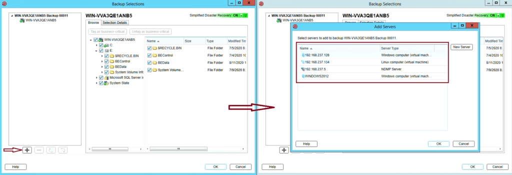 How to create Windows Server backup in Backup Exec 20 325