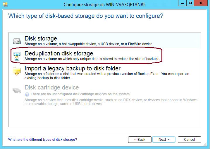 How to create Deduplication storage in Backup Exec 20 307