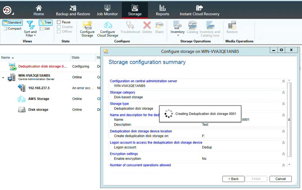 How to create Deduplication storage in Backup Exec 20 317