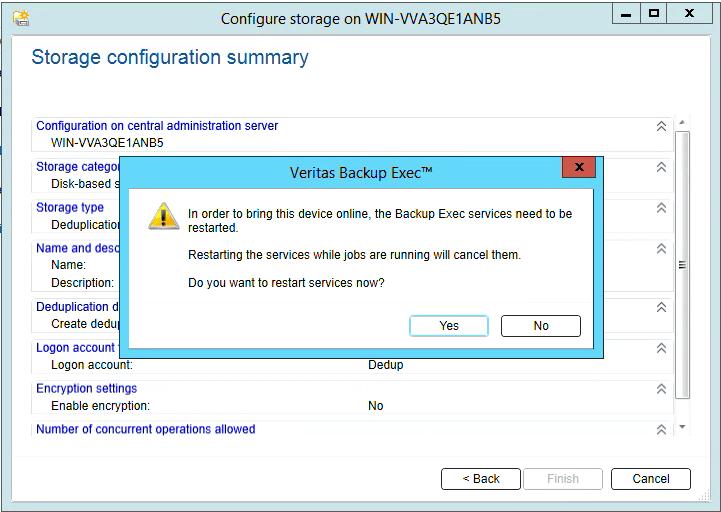 How to create Deduplication storage in Backup Exec 20 318