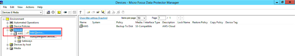 How to configure B2D storage to Data Protector 267