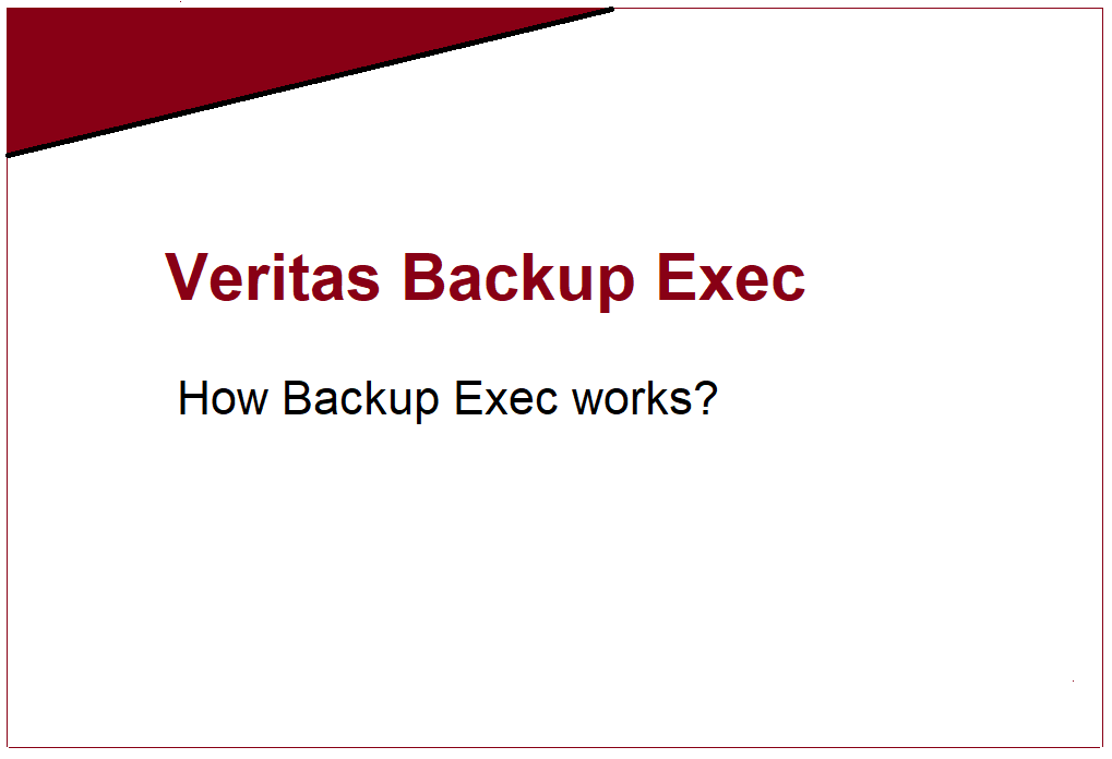 How does Veritas Backup Exec work? 466