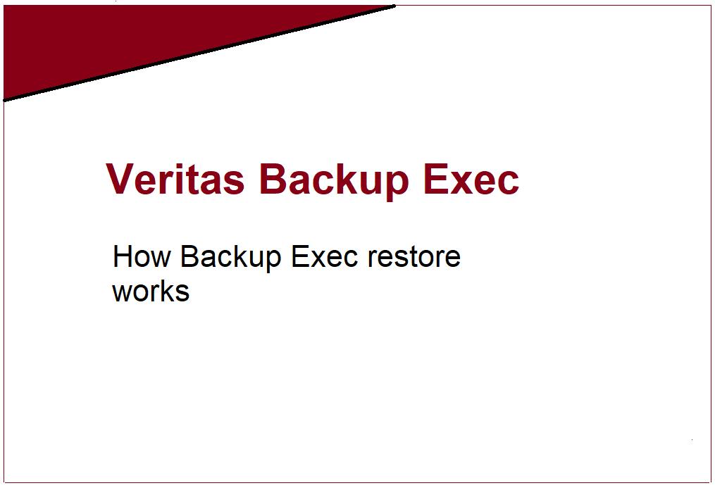 How Veritas Backup Exec restore works? 449