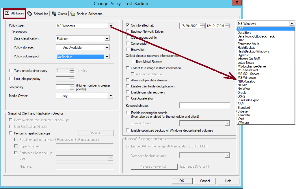 How to create NetBackup Policy and schedule 208