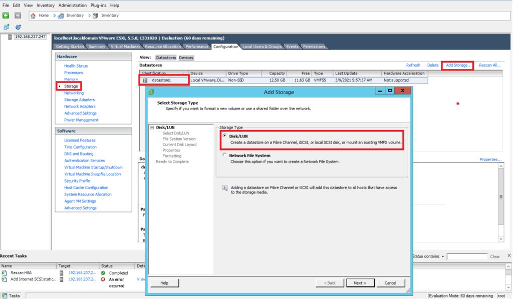 How to Add iSCSI Storage to Datastore in Vmware ESXi 5.5 109